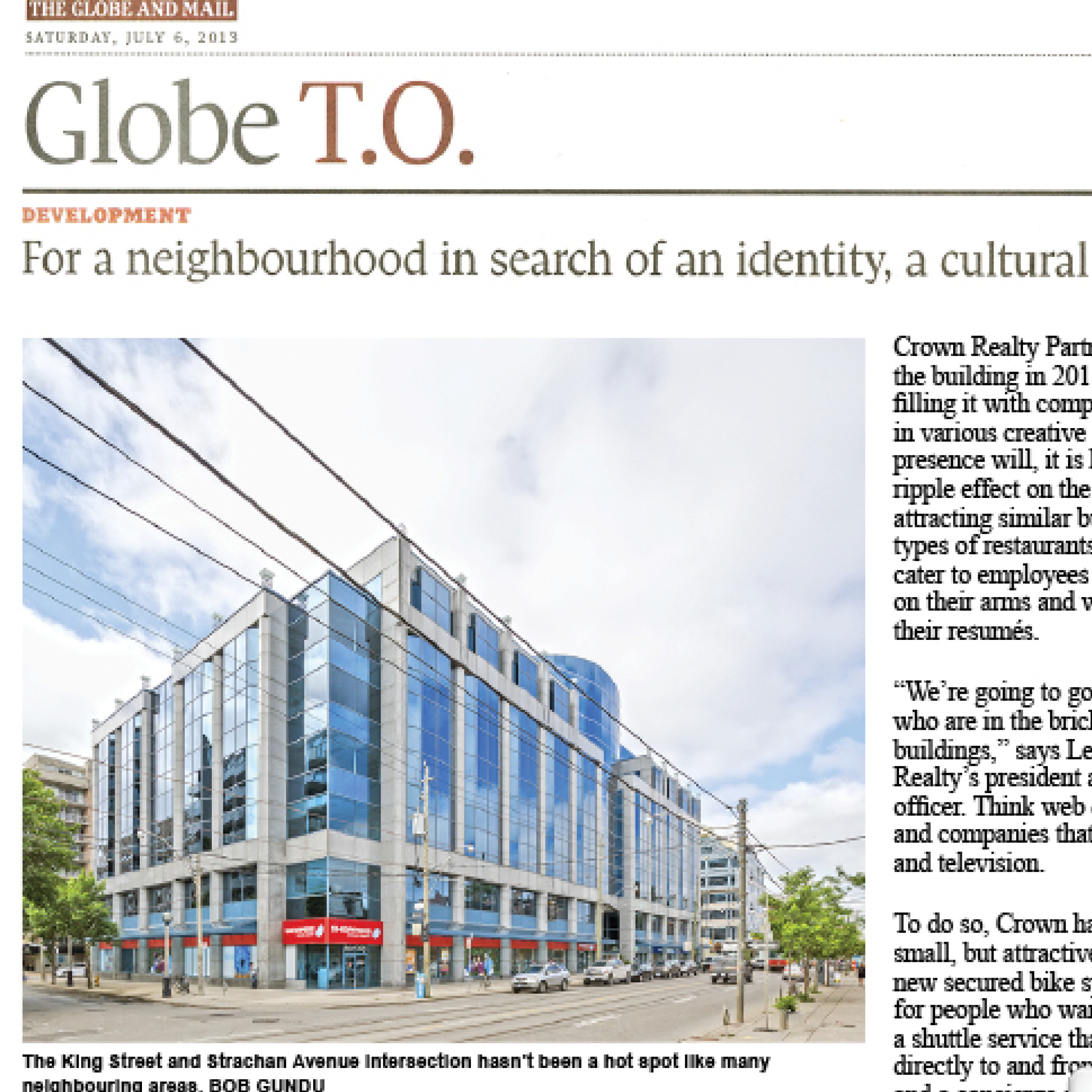 Globe and Mail article about Quadrangle moving into a new studio