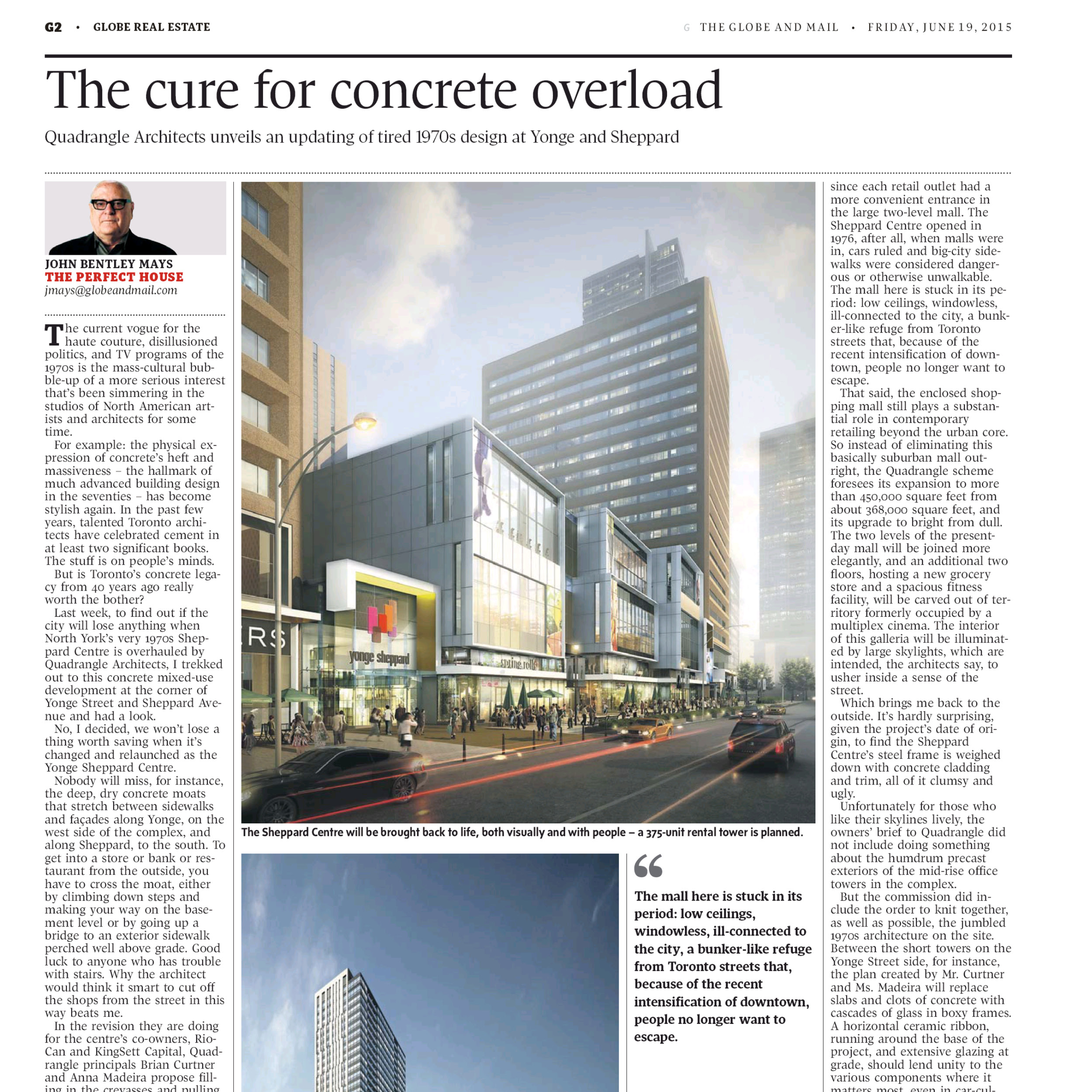 Globe and Mail newspaper article about Yonge Sheppard Centre