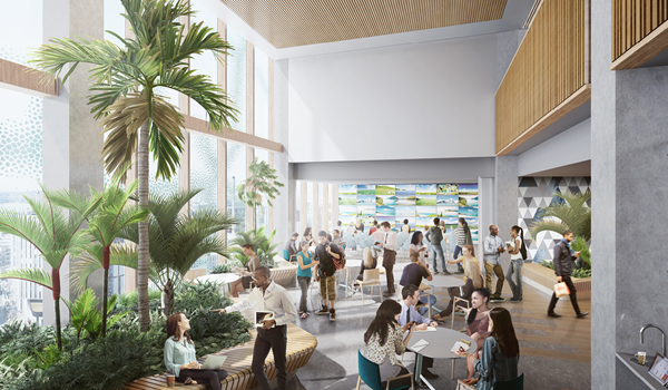 rendering of a sunlit lobby with double height ceilings filled with people using a range of seating options including a bench around a planter with tall plants