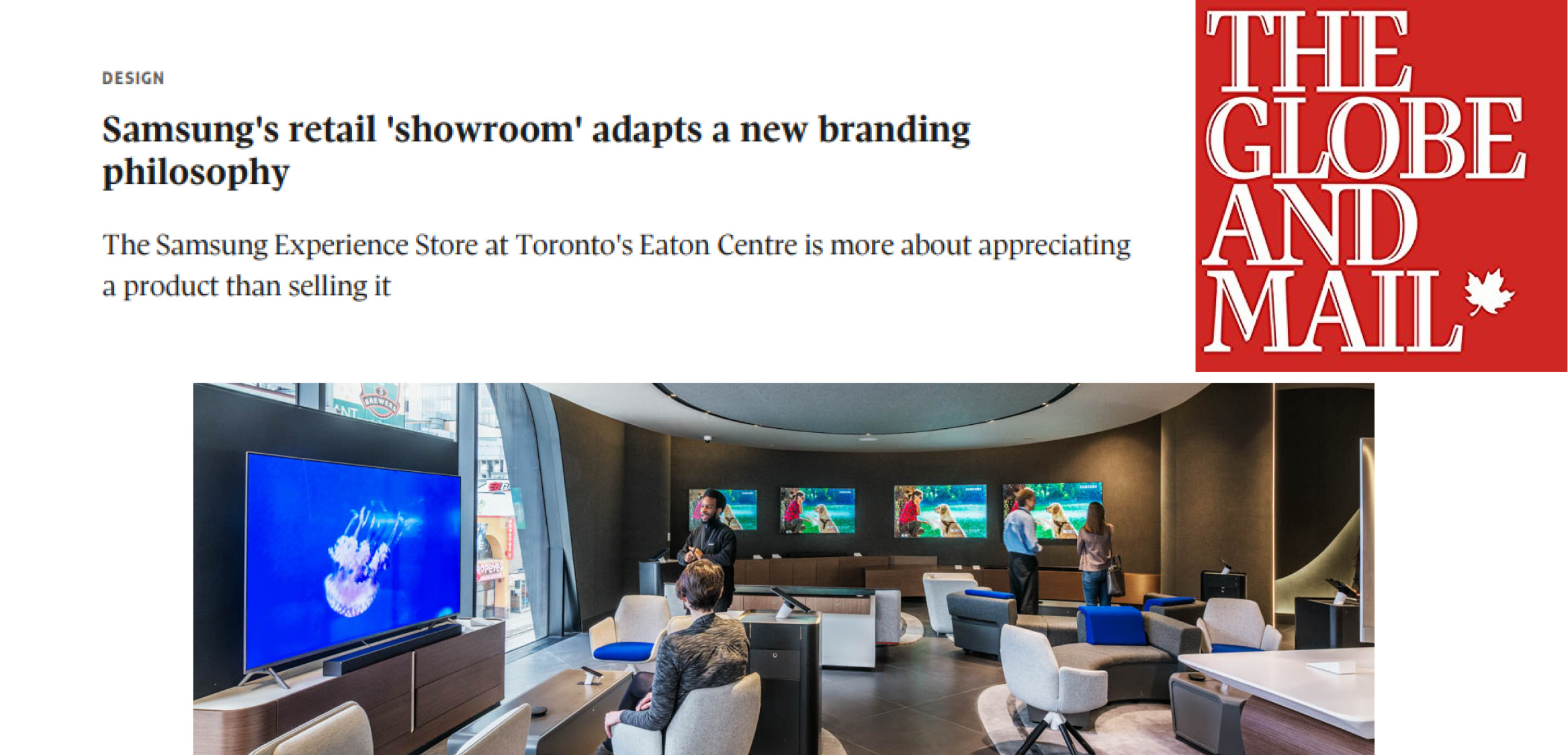 """the headline """"Samsung's retail 'showroom' adapts a new branding philosophy"""" along with the Globe and Mail logo and people looking at TVs in the Samsung store"""
