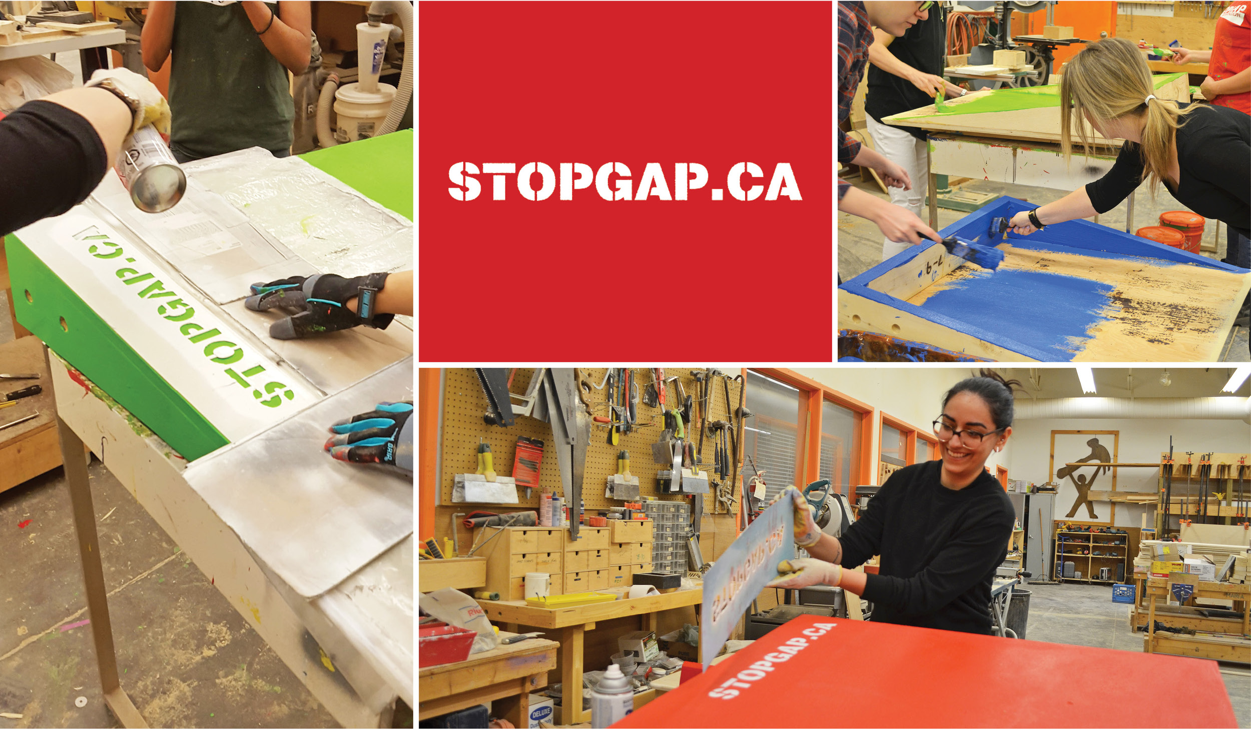 a collage of photos of women painting wooden ramps bright colours with the StopGap logo in the centre