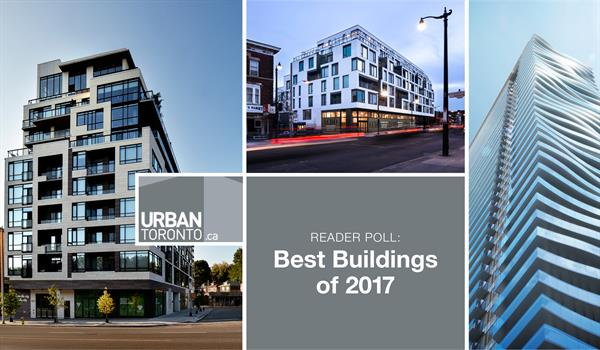 photos of The High Park, the Duke Condos, and the Jade surrounding the Urban Toronto logo and the words Reader Poll: Best Buildings of 2017