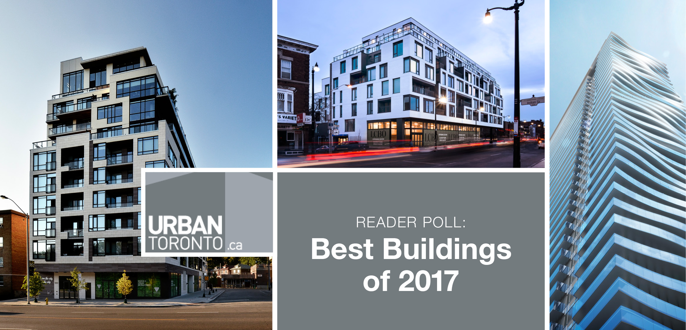 Collage with images of The High Park, DUKE, and Jade Condos with the UrbanToronto logo and the words Reader Poll: Best Buildings of 2017