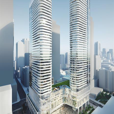 rendering of 475 Yonge Street, two towers atop a raised podium with green roof and park space on site