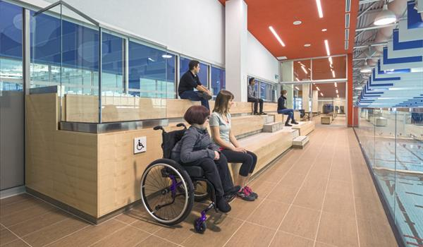 The viewing areas of the Pan Am Aquatics Centre are fully accessible