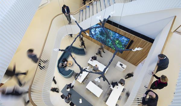 looking down to the first floor from several floors up over the stair rail, showing various tables in the lobby of Barton Science Centre