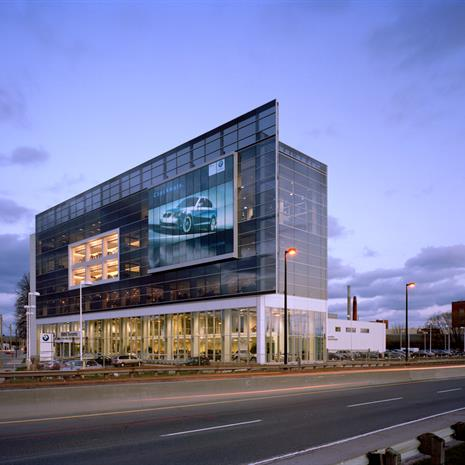 Façade of BMW Toronto and the Don Valley Parkway