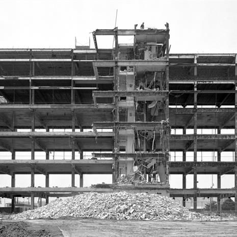 Steel and concrete frame of the building