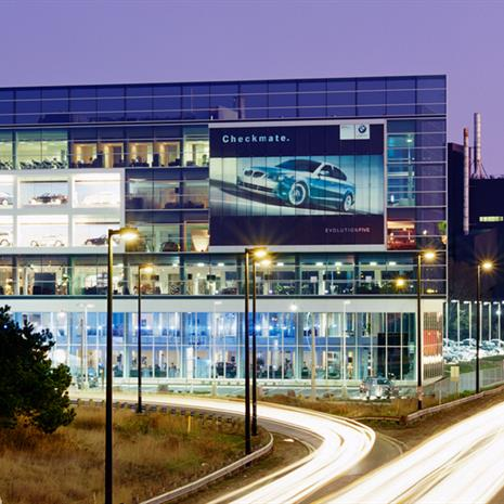 Façade of BMW Toronto displaying BMW vehicles