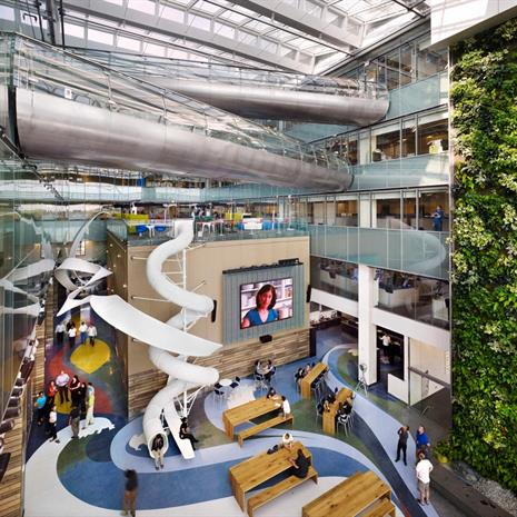 Bird's-eye view of the atrium at Corus Entertainment.