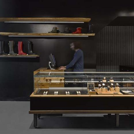 Jewellery display case and service counter
