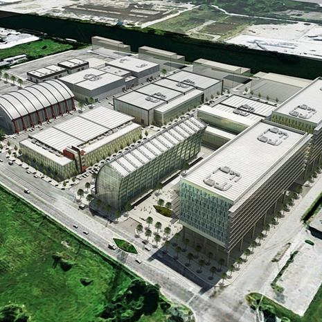 Aerial view of FILMPORT Film Studios master plan.