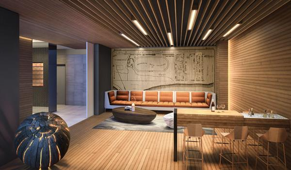 interior lobby rendering of Heartwood - The Beach
