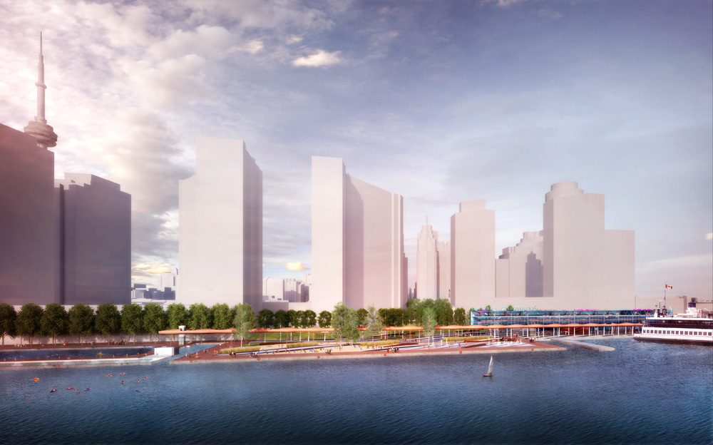 Jack Layton Ferry Terminal and the cityscape of the City of Toronto.