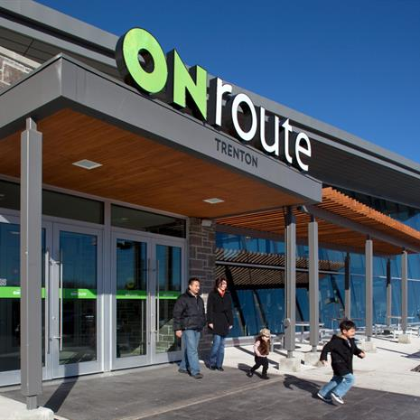 Main entrance at ONroute Trenton.