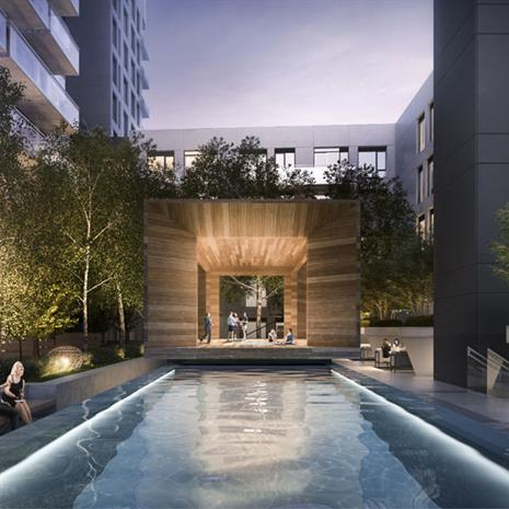 Rendering of outdoor pool and communal space at York Condos