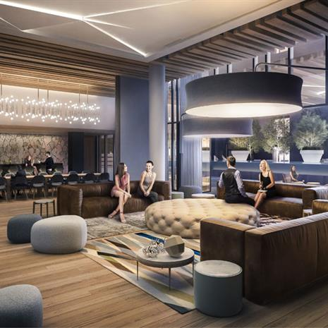 Interior rendering of shared lounge at York Condos